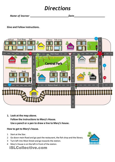 printable directions map give and follow directions on a map esl pinterest