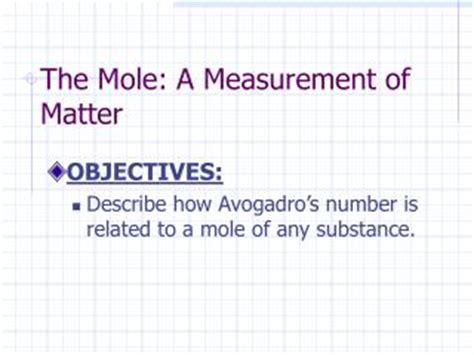 section 10 1 the mole a measurement of matter answers ppt measurement of matter the mole powerpoint