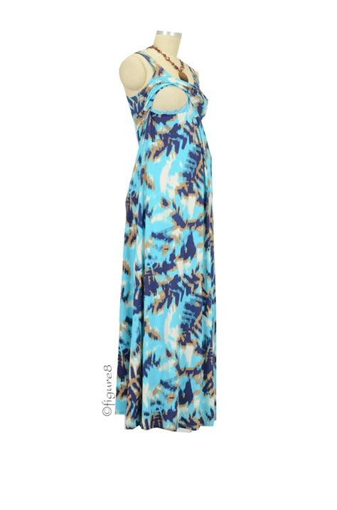 Tribal Blue Chika Dress ying anytime maxi maternity nursing dress in blue tribal