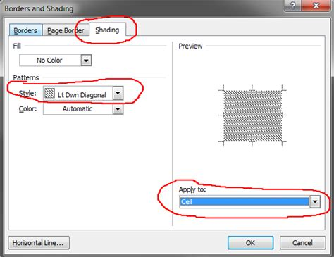 grey pattern style excel microsoft word 2010 fill cell in table with line pattern