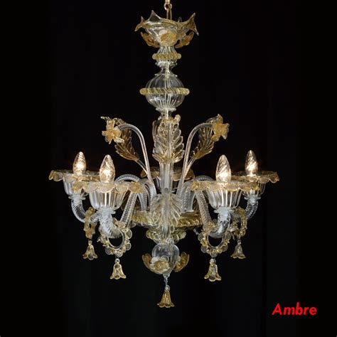 lustres de murano lustre en verre de murano style v 233 nitien 5 feux pereto