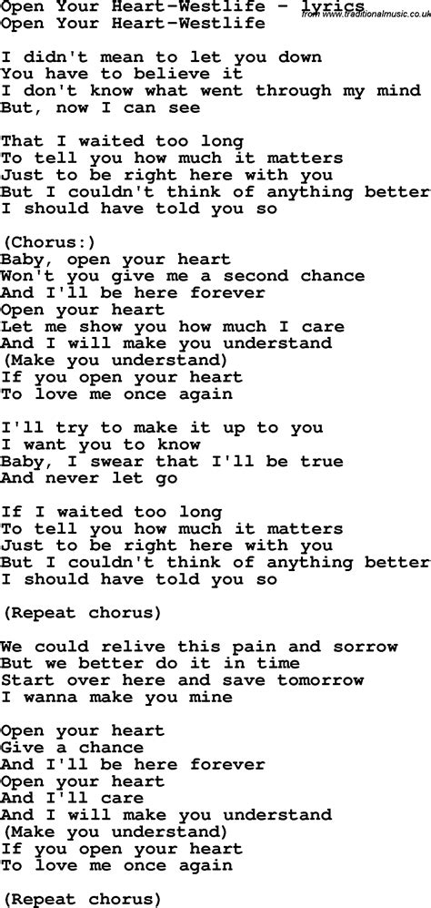 love song lyrics foropen  heart westlife