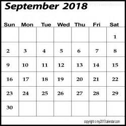 2018 Calendar Free September 2018 Calendar Template Printable Monthly Calendars