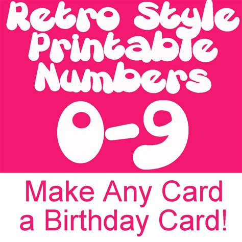 printable number birthday cards retro printable numbers