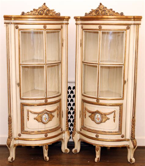 antique white curio cabinet antique white and gilt corner curio cabinets pair