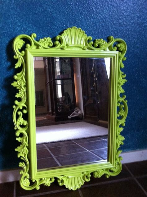 funky mirrors for bathrooms upcycled vintage mirror in lime funky home decor