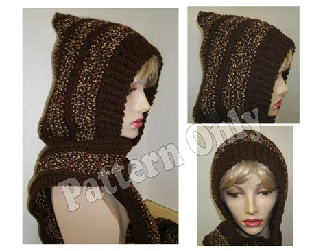 knitting pattern hat with scarf attached crochet pattern adult size skoodie hood with attached