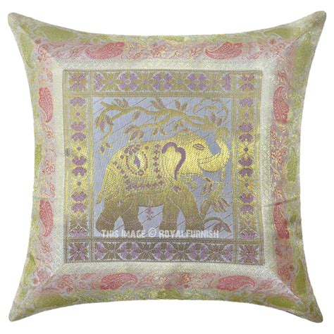 White Throw Pillows For White Multi Decorative Elephant Silk Throw Pillow Cover