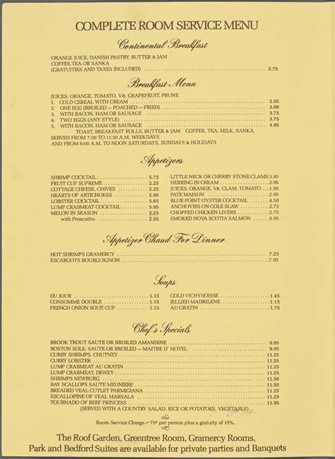 Room Service Menu by Gramercy Park Hotel Room Service Menus Whats On The Menu