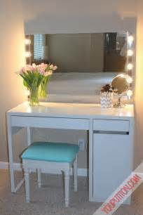 swanky white polished ikea vanity desk with wall square