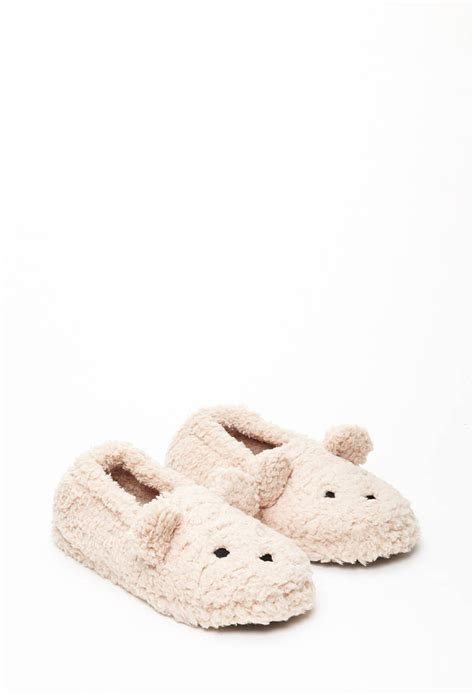 faux shearling slippers lyst forever 21 faux shearling slippers in