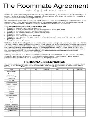 Roommate Agreement Form Templates Fillable Printable Sles For Pdf Word Pdffiller College Roommate Contract Template