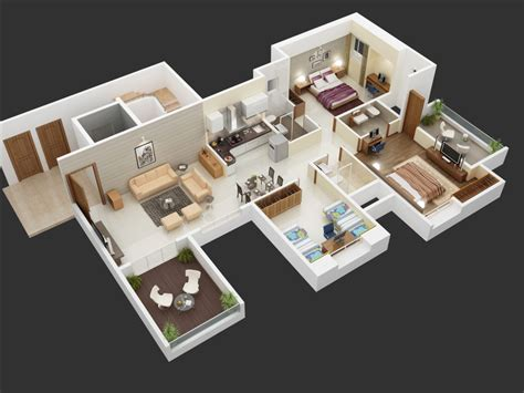 big 3 bedroom house 25 more 3 bedroom 3d floor plans architecture design