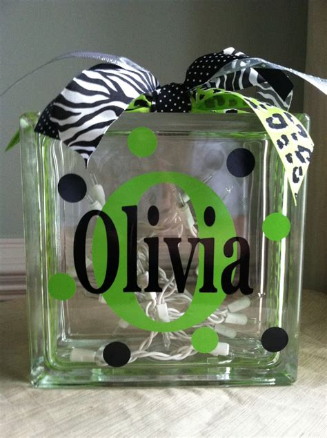 Personalized Monogram Glass Block Light Glass Block Light