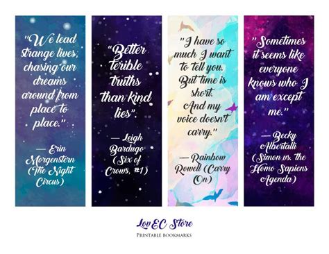 Printable Bookmarks With Quotes From Books | beautiful printable book s quotes bookmarks lake balboa
