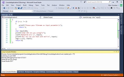 linux console linux development with c in visual studio visual c