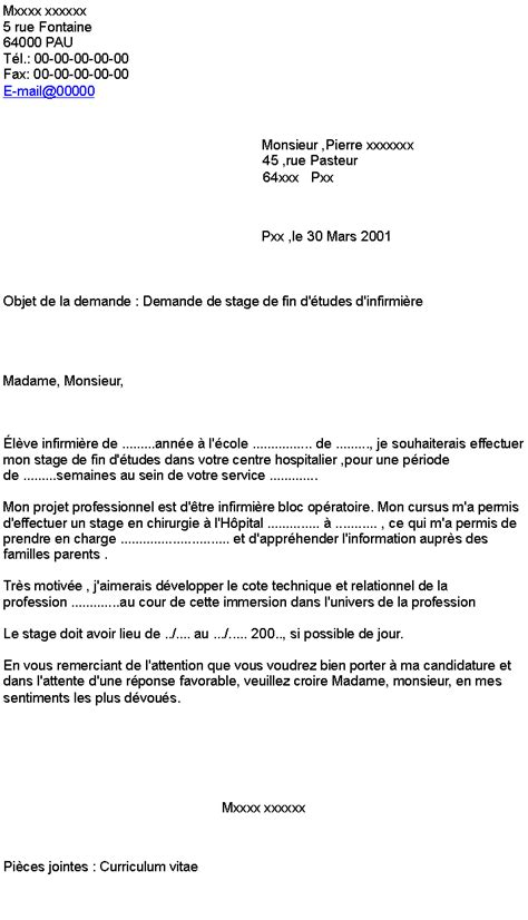 Lettre De Motivation Stage Hopital Infirmier lettre de demande de stage en hopital