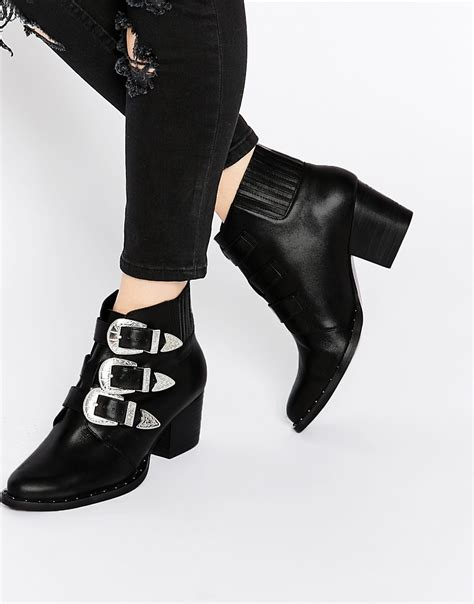 asos asos rebel leather western ankle boots at asos