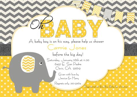 Yellow And Gray Baby Shower Invitations Theruntime Com Yellow And White Baby Shower Invitation Templates