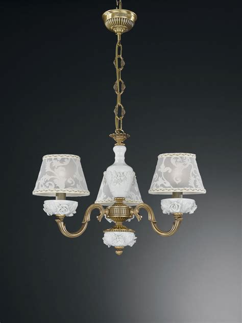 Chandeliers With L Shades 3 Lights Brass And White Porcelain Chandelier With L Shades Reccagni Store