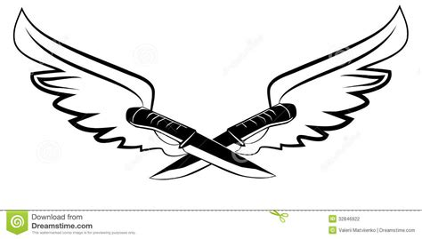 tattoo knife and wings stock photography image 32846922