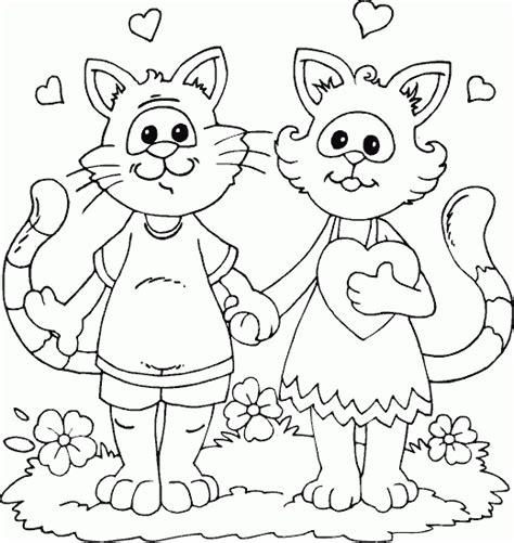 two cats coloring page two cats in love coloring page coloring com