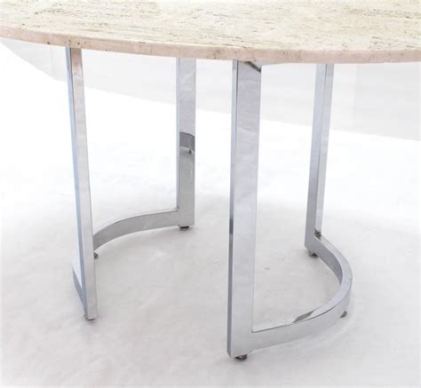 Travertine Dining Table For Sale Oval Travertine Top Dining Table On Chrome Base For Sale At 1stdibs