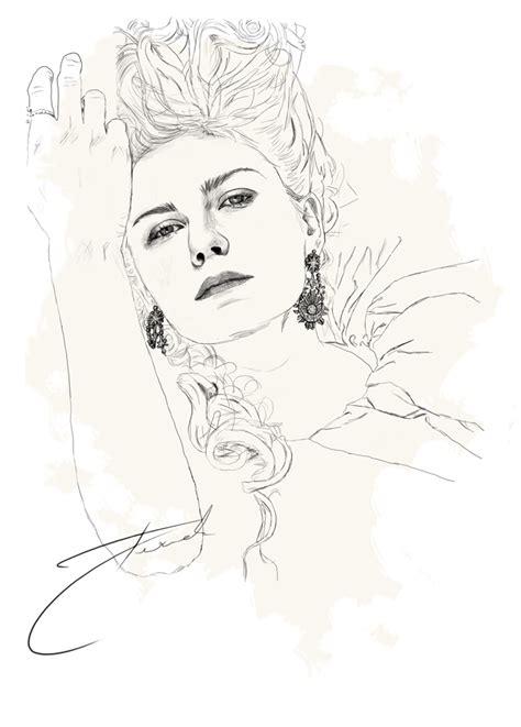 kirsten dunst as marie antoinette sketch coloring page