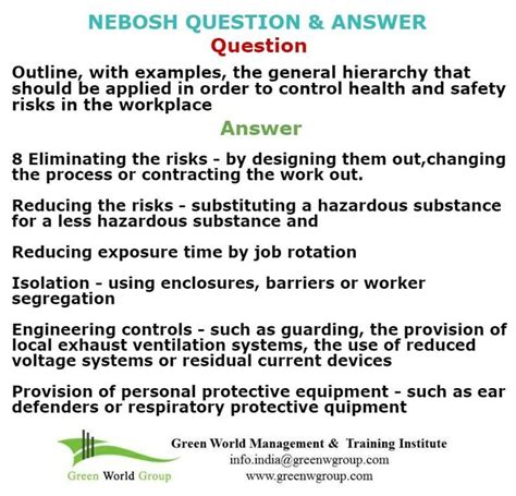 23 best nebosh questions images on safety environment and questions