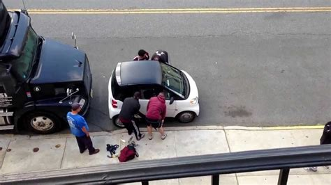 smart car lifted 5 guys illegally lift a smart car youtube