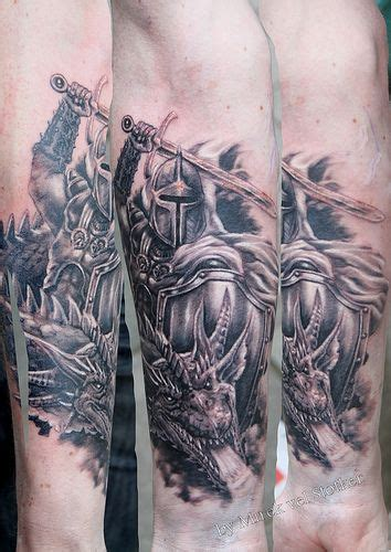 knight and dragon tattoo designs with by mirek vel stotker