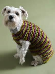 Free knitting pattern 80933ad city stripes dog sweater lion brand