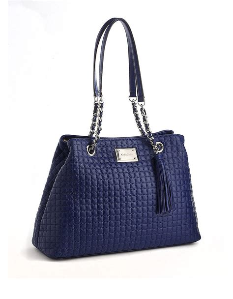 calvin klein hastings quilted leather tote bag in blue