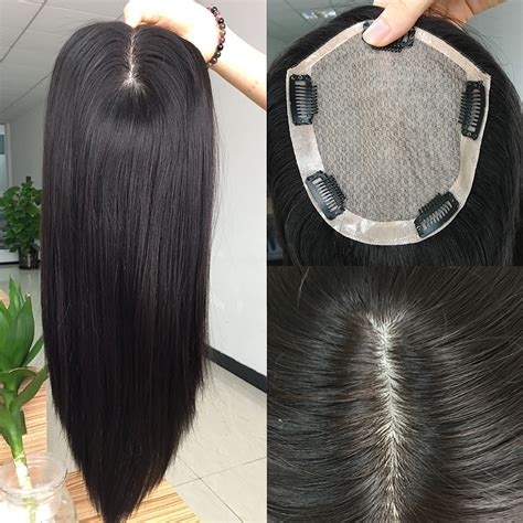 hair pieces for thin hair natural hairline human hair clip in hair extensions topper