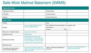 safe work method statement template wa service provider