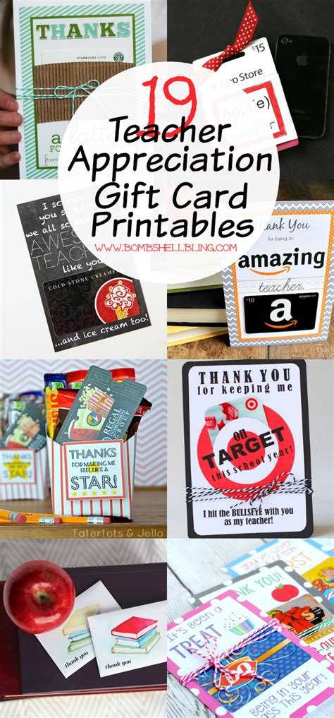 Teacher Appreciation Printables For Gift Cards - 19 teacher appreciation gift card printables
