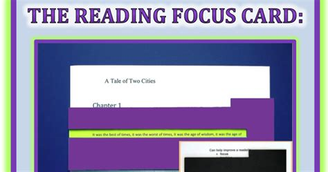 reading focus card template learning specialist and materials sensory
