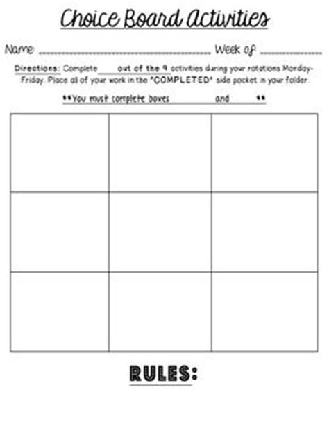 choice boards literacy and literacy stations on pinterest