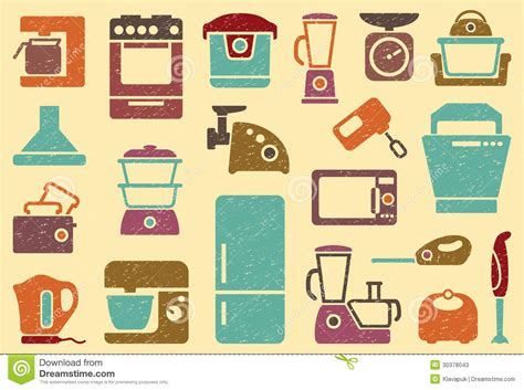 vintage home appliances icons stock vector illustration seamless background from icons of kitchen home app stock