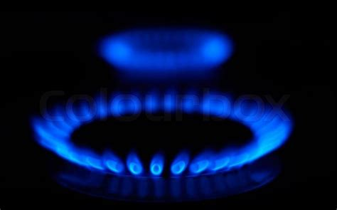 Bild Gas by Blaue Flammen Gasherd Im Dunkeln Stockfoto Colourbox