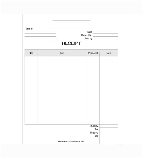 receipt for items received template business receipt template receipt template