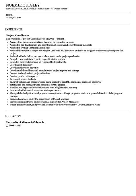 Project Coordinator Resume by Project Coordinator Resume Sle Velvet