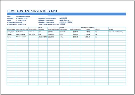 ms excel household inventory list template formal word