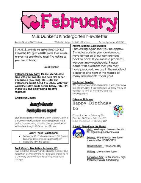 best photos of february preschool newsletter sles