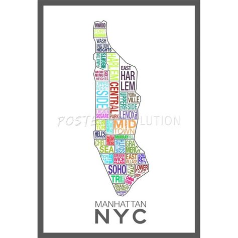 manhattan sections map manhattan new york neighborhood map colorful poster 3 80