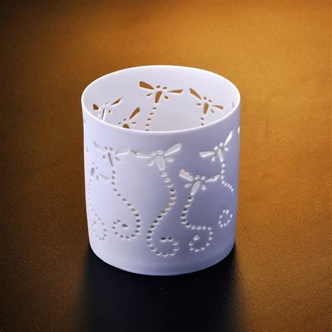 white ceramic tea light candle holder china glass