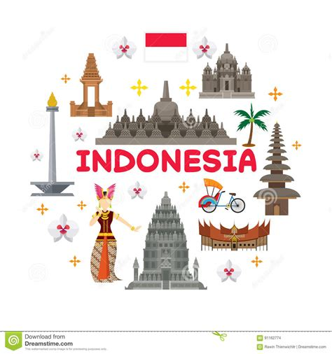 indonesia travel attraction label stock vector