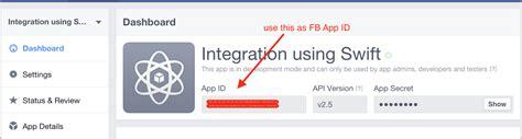fb app id facebook integration using swift 2 tutorial