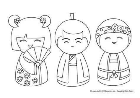 daruma doll coloring page kokeshi dolls colouring page 1