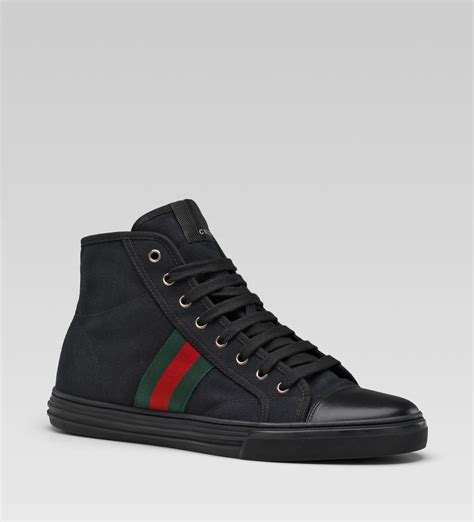 gucci sneakers gucci hi top lace up sneaker black linen sneaker cabinet